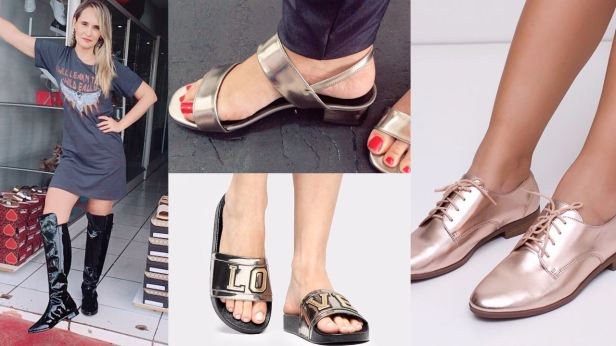 sandália metalizada