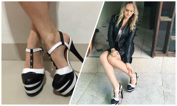 sapato meia pata branco e preto