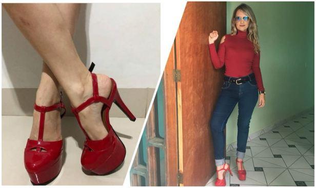sapato meia pata vermelho